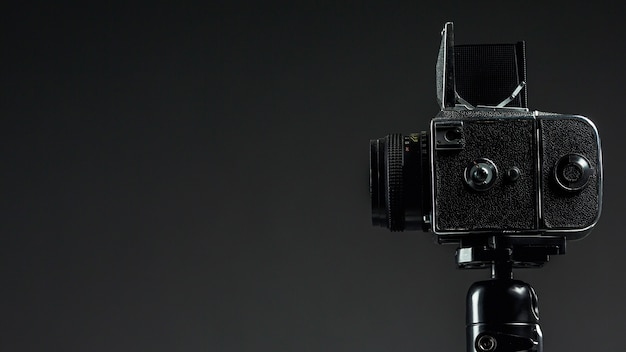 Black professional camera with copy space
