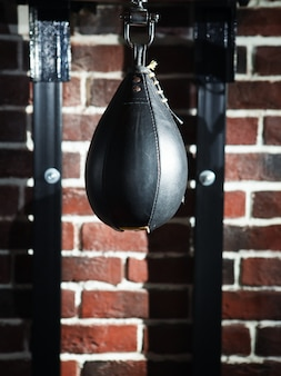 Black punching bag.