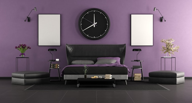 Black and purple master bedroom