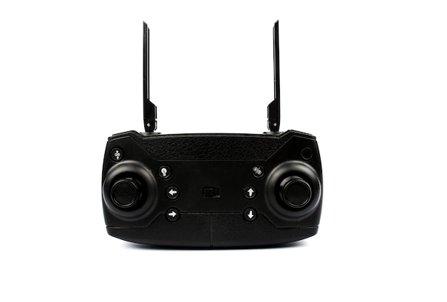 Black quadcopter remote control on a white background