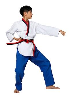 Черный красный пояс taekwondo karate kid подросток спортсмен показывает традиционные боевые позы poomsae в спортивной форме платье, 15-летний мальчик, студийное освещение на белом фоне, изолированный полный профиль
