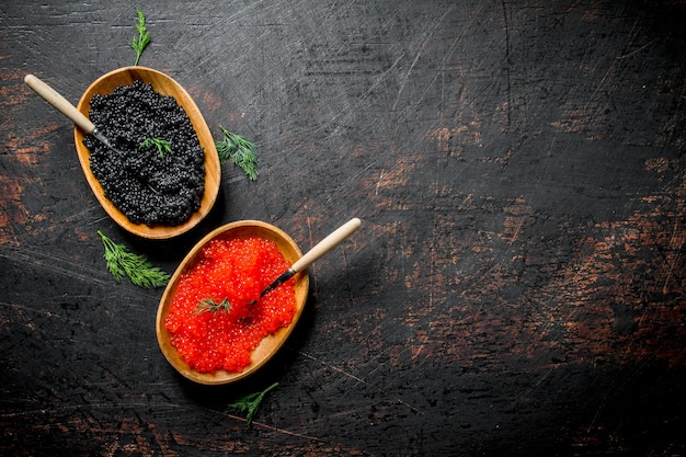Black and red caviar in bowls with spoons and dill. on dark rustic surface