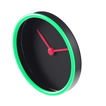 Black,red and green 3d isometric clock