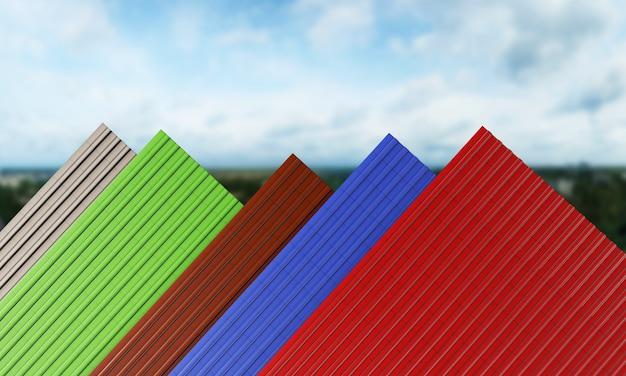 검정, 빨강, 녹색, 파랑, 갈색 지붕 타일 3d 렌더링