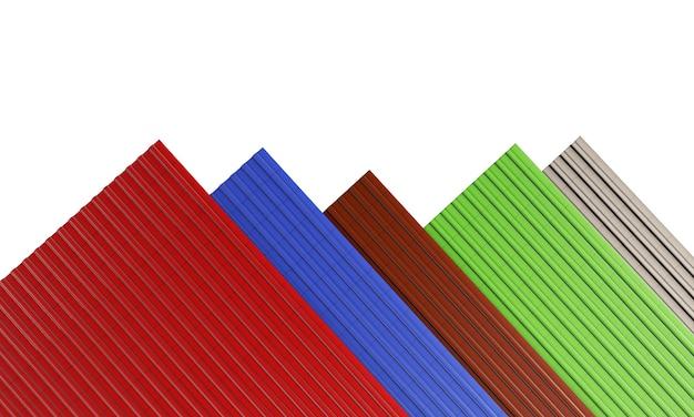 검정, 빨강, 녹색, 파랑, 갈색 지붕 타일 흰색 배경 3d 렌더링에 고립