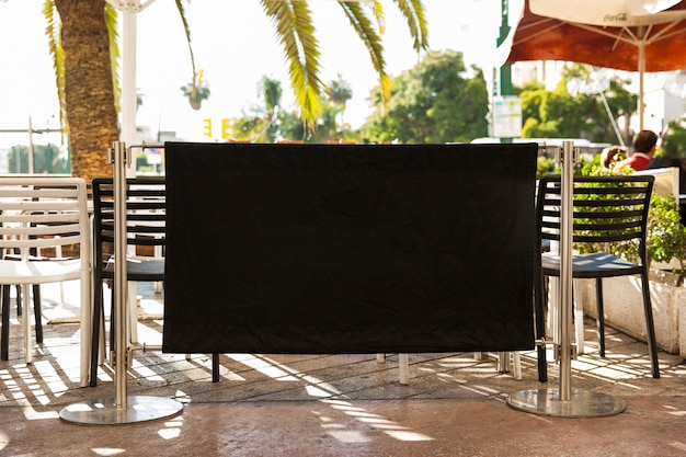 Black restaurant billboard