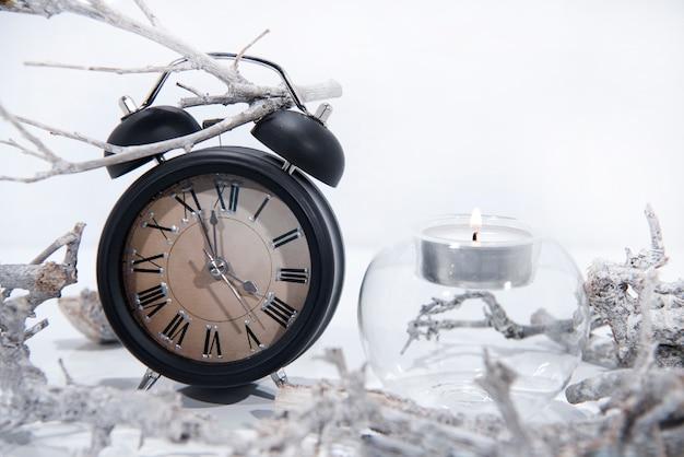 Black retro alarm clock with branches
