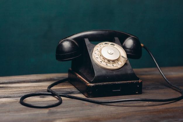 Black retro telephone office communication technology nostalgia. high quality photo