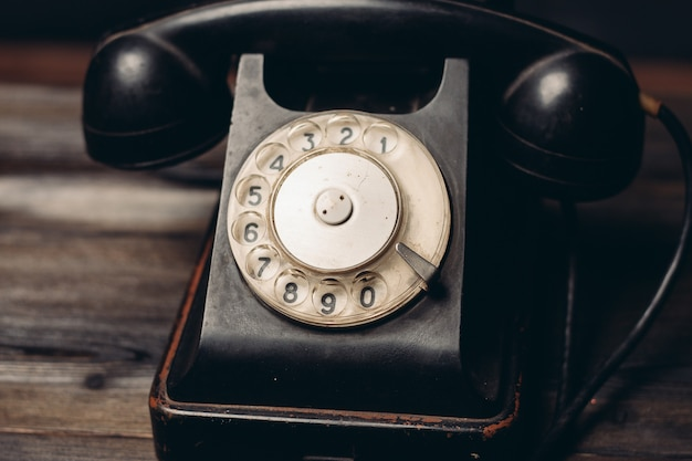 Black retro telephone technology communication classic style