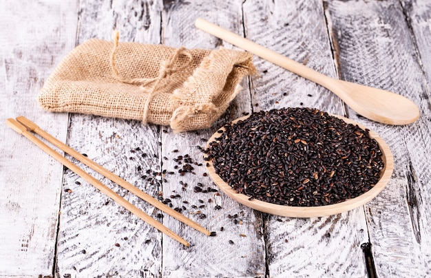 The black rice thailand in the sack