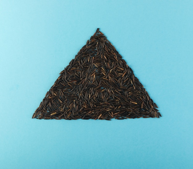 Black rice triangle on blue background