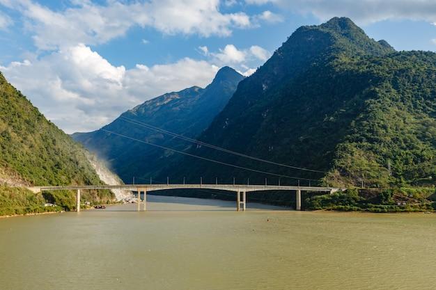 Black river or song da river border of lai chau and dien bien province vietnam