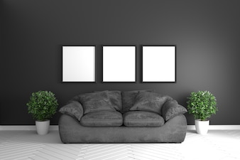 Black room interior with black sofa and plants in white floor