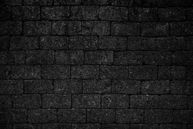 Black rough brick wall texture background.