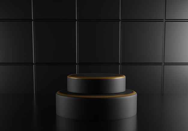 Black round podium with golden decoration on  black background.