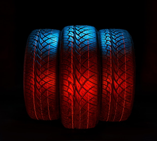 Black rubber tyres