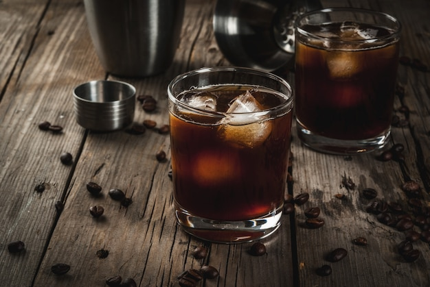 Black russian cocktail with vodka and coffee liquor
