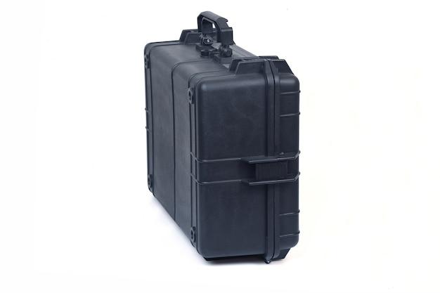 白い背景、背面図と側面図に分離された黒の安全ブリーフケース