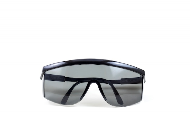 Black safety glasses personal protective equipment on white background