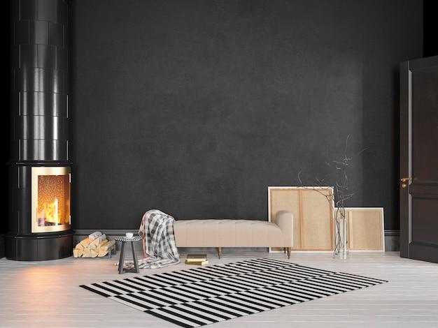 소파, 스토브, 벽난로, 카펫이있는 블랙 스칸디나비아 클래식 인테리어. 3d 렌더링 그림을 조롱.