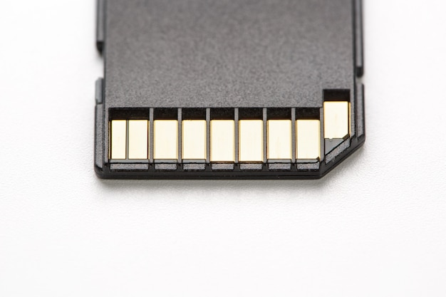 Black sd memory card on a white background, isolate