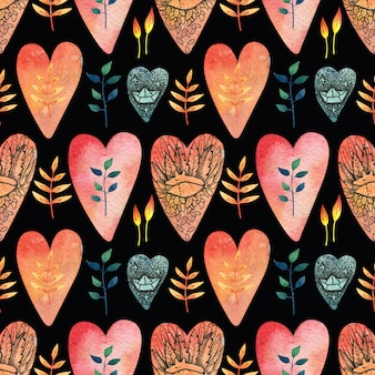 Black seamless pattern with colored (red, orange, blue) hearts with the image of a cute fox, a carabiner, leaves and flowers.