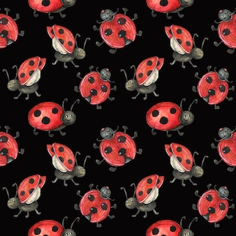 赤、かわいいてんとう虫をイメージした黒のシームレスパターン