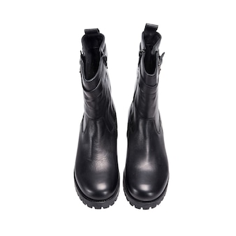 Black semi leather female boots isolated on white surface