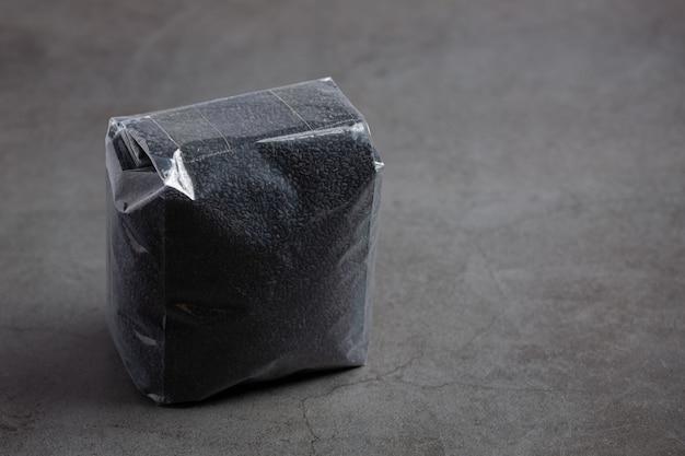 Black sesame on dark background