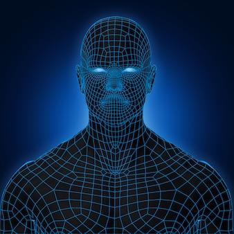 Black shade anatomy blue wireframe face front view dark background