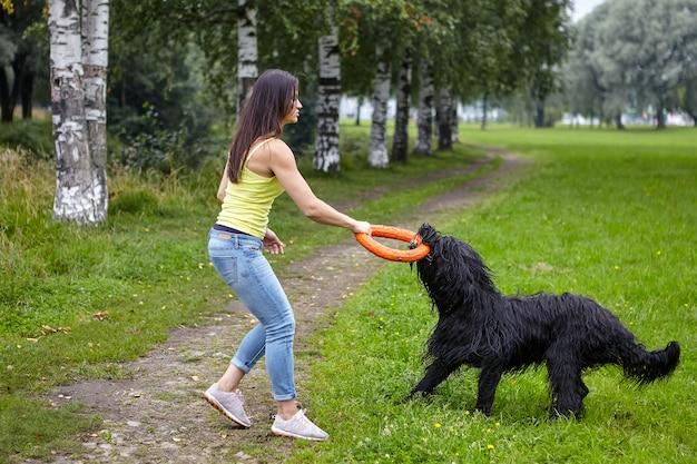 검은 털 복 숭이 개는 야외에서 걷는 동안 장난감의 도움으로 젊은 백인 아가씨와 훈련을 받았습니다.