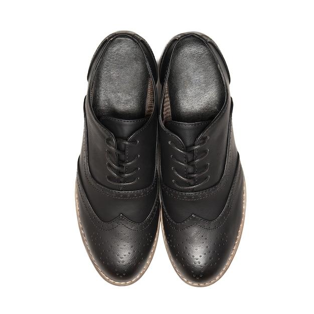 白い背景で隔離の黒い靴。上面図