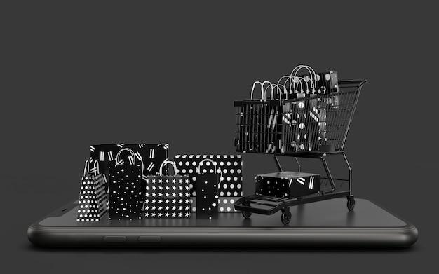 Черные покупки 3d-рендеринга. бизнес-концепция маркетинга и цифровой интернет-маркетинг