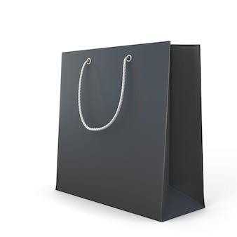 白で隔離される黒い買い物袋。 3dイラスト。