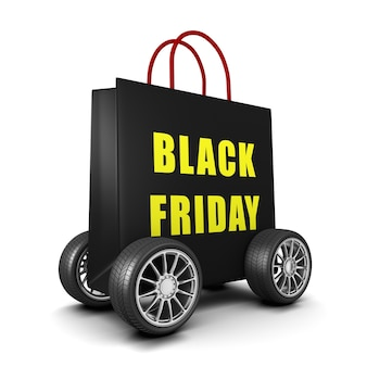 Black shopping bag on wheels with black friday text isolated