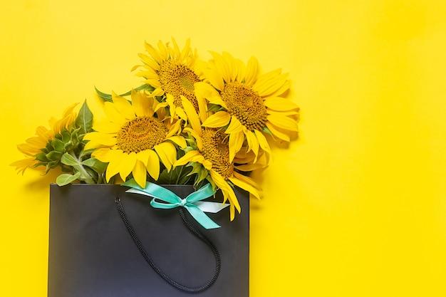 Черная сумка-шоппер с подсолнухами