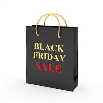 Черная сумка для покупок с надписью черная пятница и распродажа