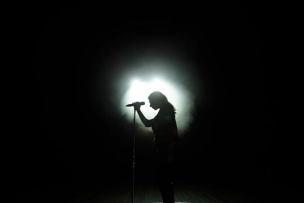 Черный силуэт певицы с белыми прожекторами на заднем плане.
