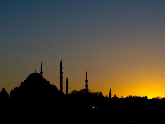 Черный силуэт города с мечетями на закате