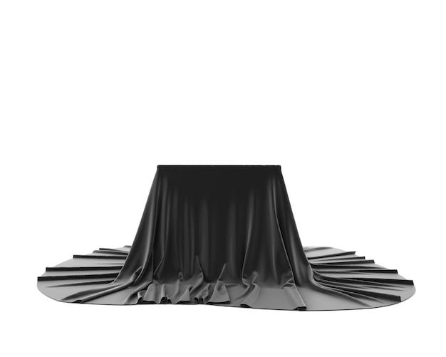 Подиум постамента черной шелковистой ткани изолированный на белой предпосылке. 3d-рендеринг.