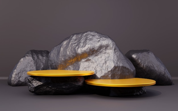 Black silver and gold background podium with black rock composition for product presentation 3d render