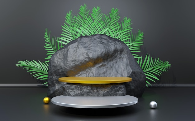 Black silver and gold background podium with rock and palm leaf composition for product presentation 3d render