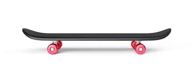 블랙 스케이트 보드 또는 스케이트 서핑 보드 흰색 절연