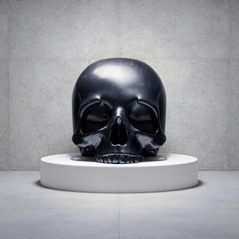 Black skull on a platform, 3d render