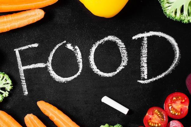 単語 &quot;食&quot;と周りの野菜とブラックスレート