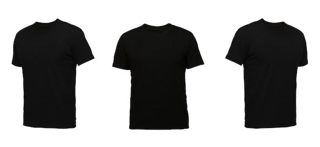 검은색 민소매 티셔츠. 흰색 배경에 t-셔츠 전면 보기 세 위치