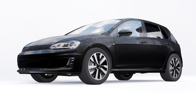 Черный небольшой семейный автомобиль хэтчбек на белом фоне. 3d-рендеринг.