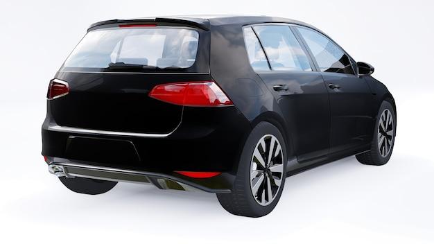 흰색 바탕에 검은색 작은 가족용 자동차 해치백. 3d 렌더링.