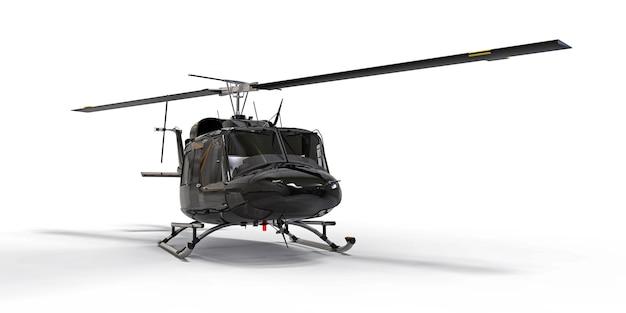 흰색 격리 된 배경에 검은 작은 군사 수송 헬리콥터 에어 택시 3d 그림