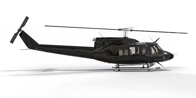 白い孤立した背景に黒い小さな軍用輸送ヘリコプター。ヘリコプター救助隊。エアタクシー。警察、消防、救急車、救助隊用のヘリコプター。 3dイラスト。
